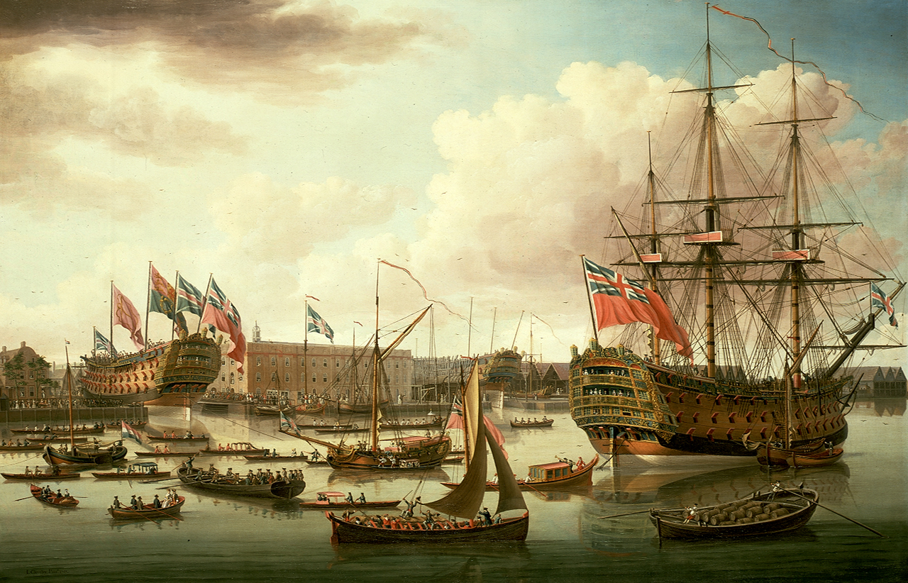 John_Cleveley_the_Elder,_The_Royal_George_at_Deptford_Showing_the_Launch_of_The_Cambridge_(1757)