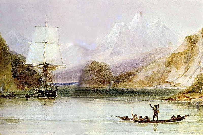 HMS Beagle at Tierra del Fuego by Conrad Martens